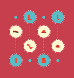 set of dress icons flat style symbols with heeled vector image