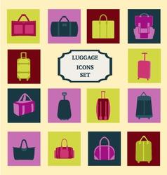 set of flat luggage-icons-set vector image