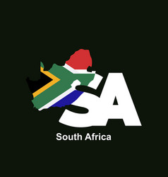 south africa initial letter country with map and vector image