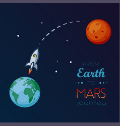 Spaceship flying in space from earth to mars vector