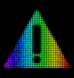 Spectral colored pixel warning icon vector