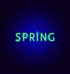 Spring neon text vector