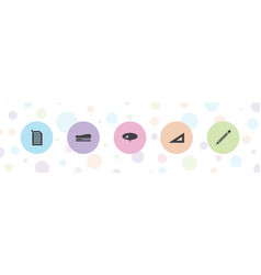 Stationery icons vector