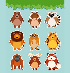 Sticker set with cute animals on blue background vector