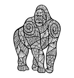 Stylized monkey zentangle vector image