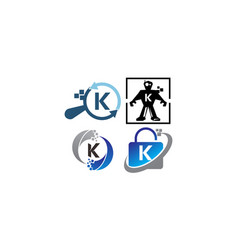 Technology application k template set vector