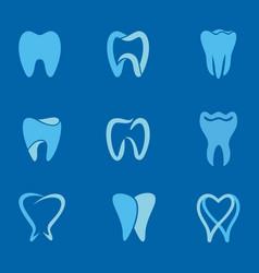 teeth blue logo vector image vector image