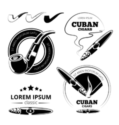 Tobacco leaves cigars and hookah labels vector