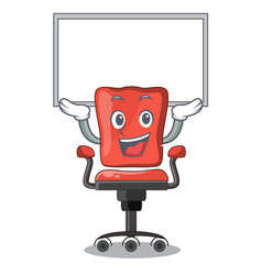 Up board character office desk chair in indoor vector
