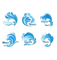 Water waves and splashes icons vector