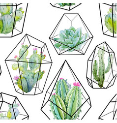 Watercolor cactus pattern vector