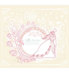 Wedding dancing couple on abstract background card vector