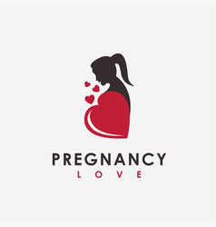 women with love heart and pregnancy logo icon vector image