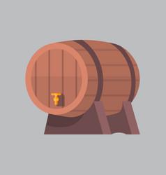 wooden beer barrel icon oktoberfest festival vector image