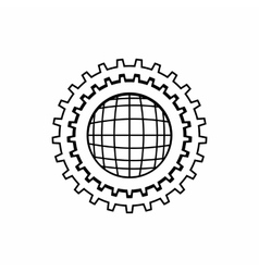World setting online icon outline style vector image