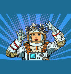 young woman astronaut in a wreath vector image