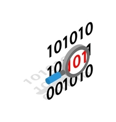 Binary code and magnifying glass icon vector image