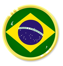 button with flag Brazil vector image vector image
