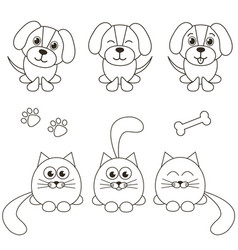 cat and dog icons isolated on white vector image vector image