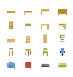 Furniture Office and Home Accessories Flat Icons vector image vector image