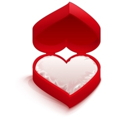 Red open box heart shape vector image vector image