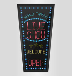 retro sign with blue lights and the word live show vector image