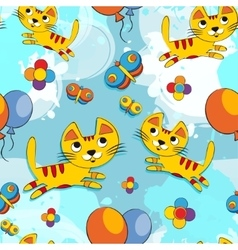 seamless pattern with cute kittens vector image