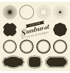 Set of vintage line frames and labels with vector image vector image