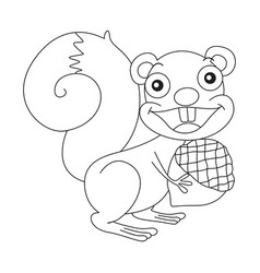 animal outline for squirrel and nut vector image vector image