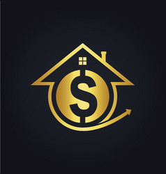 house sale money gold logo vector image vector image