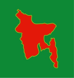 Map of Bangladesh with in red and green colors vector image