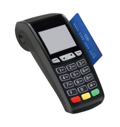 pos terminal with card isolated paying with vector image vector image