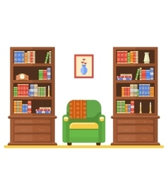 room interior with two bookcases and armchair vector image