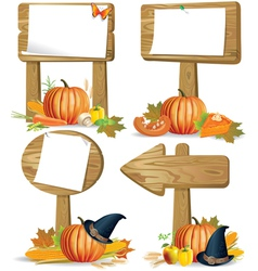 Wooden sign boards Thanksgiving vector image vector image