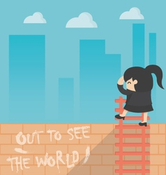 Concept cartoon business woman out to see the worl vector