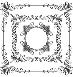 set of calligraphic frames vector image vector image