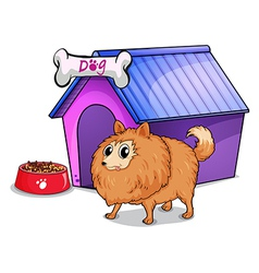 A brown dog outside the doghouse vector image vector image
