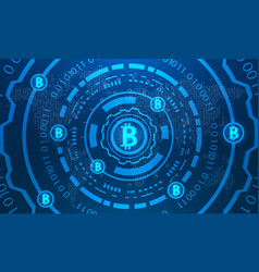 bitcoins with hud elements binary world map btc vector image vector image
