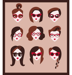 fashion girls in glasses vector image