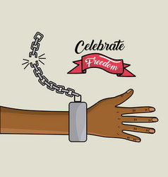 hand with chain and ribbon design to celebrate vector image