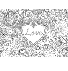 heart on flowers coloring vector image vector image