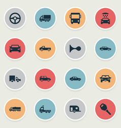 Set of simple auto icons vector
