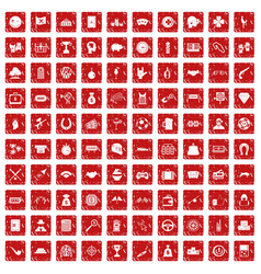 100 gambling icons set grunge red vector
