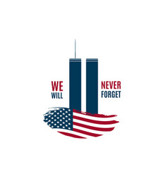 911 patriot day card with twin towers vector