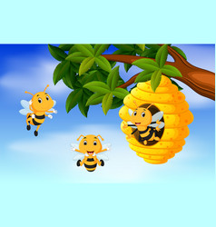 a honey bee under a tree vector image