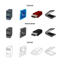 A system unit a flash drive a scanner and a sd vector