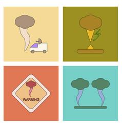 assembly flat icons natural natural disaster vector image