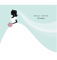 Beautiful bride silhouette on pastel blue for vector