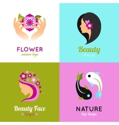 Beauty concept design 4 flat square vector image vector image