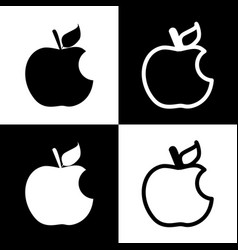 Bite apple sign black and white icons and vector